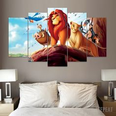 The lion king - 5 piece canvas painting disney canvas paintings, multi canv Lion King Room, Lion King Nursery, Lion King Theme, Lion King Baby, Disney Lion King, Baby Room Themes, Boy Nursery Themes, Baby Boy Rooms, Disney Canvas Paintings