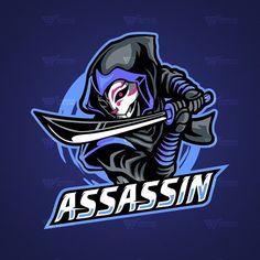No photo description available. Team Logo Design, Logo Desing, Mascot Design, Assassin Logo, Ninja Logo, Graffiti Designs, Esports Logo, Gaming Wallpapers, Game Logo