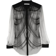 Dion Lee Printed silk-georgette shirt ($380) ❤ liked on Polyvore featuring tops, blouses, shirts, black, women, see through blouse, stand collar blouse, sheer shirt, sheer print blouse and sheer top