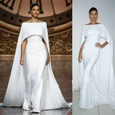 Nice Amazing White Off Shoulder Cloak Dresses Evening Prom Cape Gowns Celebrity Dress Custom 2018 Blue Wedding Dresses, Bridal Dresses, Wedding Gowns, Bridesmaid Dresses, Prom Dresses, Formal Dresses, Formal Prom, Wedding Dress Cape, Wedding Hair