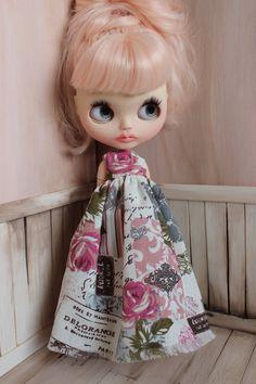 Maxi Dress For Blythe - Blythe summer clothes, blythe dress, neo blythe, blythe outfit, shabby chic blythe dress by ShelsTinyCreations on Etsy
