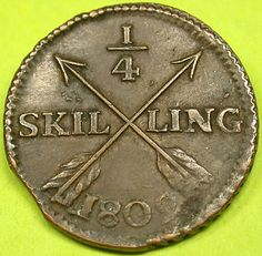 Swedish coin (1/4 SKILLING) with crossed arrows,1802.  Early Coinage with Planchet Clip. RARE!