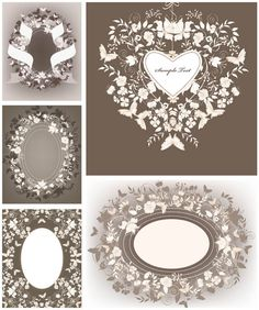 2 sets of vector decorative floral wedding design elements with ornate vintage frames, floral borders, different classic embellishments and labels for your ornamented wedding invitations and other designs. Wedding Invitation Card Design, Elegant Wedding Invitations, Wedding Frames, Wedding Cards, Wedding Day Quotes, Floral Wedding, Wedding Vintage, Floral Border, Tampons