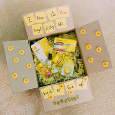"""tessarecovering: """"Know someone who's struggling? Send them a sunshine box! Here's an easy, cute idea that you can put together quickly. It always made my day when I got mail in treatment. Sometimes..."""
