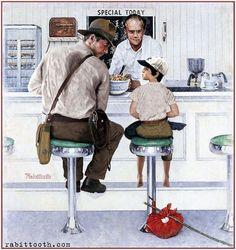 Peintures Norman Rockwell, Norman Rockwell Art, Norman Rockwell Paintings, Indiana Jones, Frederic Remington, Robert Mcginnis, Harrison Ford, La Fugue, Illustrator