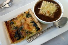 seafood quiche with french onion soup from opera patisserie in sorrento valley, san diego.
