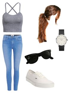 """""""Casual day"""" by mlwood2 on Polyvore featuring Paige Denim, Vans, Ray-Ban and Boohoo"""