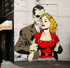 """Love her, Hate him"" - D*face   #soho #newyork #dface"