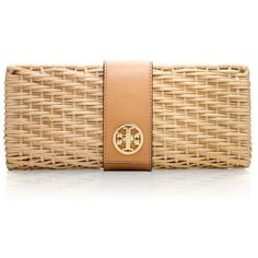 Tory Burch Lacquered Rattan Turnlock Clutch ($275) via Polyvore