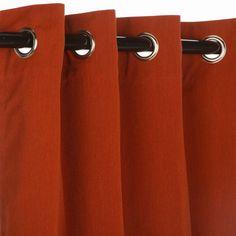 Sunbrella Outdoor Curtain Panel with Nickel Grommets - Canvas Brick