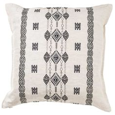 """SHOP ALL WAYFARER Our Aegean collection invites the vibes of the sea inside with embroidered patterns and colors inspired by the aesthetics of Turkish, Greek and North African textiles. The Berber pillow is perfect to drift away on. Pillow has a 90% small feather, 10% down insert. Embroidered cover on 100% ivorylinen fabric. Back fabric is solid ivorylinen. Measures 20"""" x 20"""". Custom sizes available to fit any pillow insert. Lead time is approximately 2-3 weeks. Please contact…"""