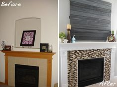 Fireplace: Erin's fireplace makeover. White paint on wood mantle, glass mosaic tiles (find anywhere like Home Depot or Lowes), crafty faux barn door to cover dated looking hole in original design.