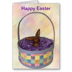 Happy Easter Card - Chocolate Rabbit in basket  #easter
