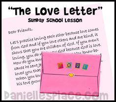 """The Love Letter"" Valentine's Day Bible Lesson with Printable Crafts and Games on www.daniellesplace.com"