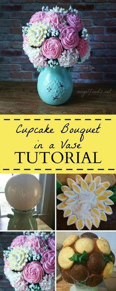 Cupcake Bouquet in a Vase Tutorial   Angel Foods