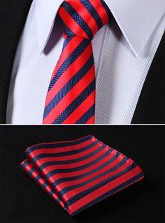 "TS2007R7 Red Blue Skinny Stripes 2.75"" 100%Silk Woven Slim Skinny Narrow Men Tie Necktie Handkerchief Pocket Square Suit Set"