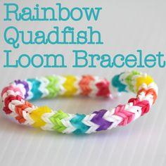 Rainbow Quadfish Loom Bracelet - love the colour sin this one! Includes link to tutorial Rainbow Loom Easy, Rainbow Loom Bands, Rainbow Loom Charms, Rainbow Loom Bracelets, Loom Band Patterns, Rainbow Loom Patterns, Loom Band Bracelets, Rubber Band Bracelet, Beaded Bracelets