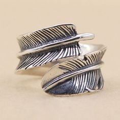 Sterling Silver Feather Ring for Men - Jewelry1000.com