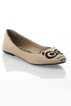 Dollhouse Hoots Ballet Flat in Ivory - Beyond the Rack