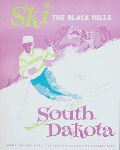 Vintage ski poster, Ski the Black Hills South Dakota; travel poster issued ca. 1960s.