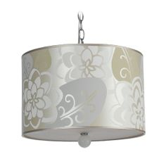 AF Lighting Modern Drum Swag Lamp with Silver Shades in Sateen Printing Finish | 8308-3H | Destination Lighting