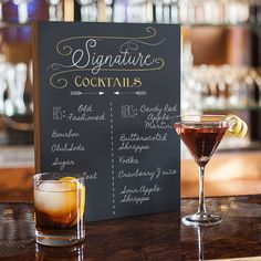 Black Wood Cocktail Menu Chalkboard Sign (SC-2140-7-ST)