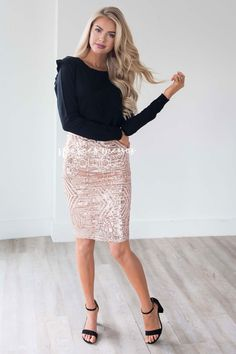 Sparkly Nights Rose Gold Sequin Skirt  d6332c85a