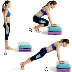Low-box burpees to fire up the fat burn. Try the rest of this amazing full-body workout...