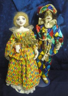 ARLECCHINA & ARLECCHINO Commedia D' Arte characters......by Michelle Munzone patterns available