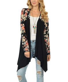 Another great find on #zulily! Cool Melon made by Goo Yoo Black & Cream Floral Open Cardigan by Cool Melon made by Goo Yoo #zulilyfinds