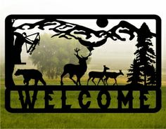 Metal cut out Bow Hunter Sign http://metaldesignworx.com/mountain.html  rustic decor, log cabin decor, hunting sign, deer sign, country decor
