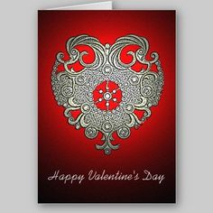 Glowing Heart Valentine's Day Card available at www.zazzle.com/stevebrownleeart*