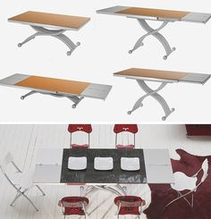 Elegant Coffee Table Dining Combo Beautiful Idea Extraordinary Design Transforming Convert To Surface Conversion Ikea Combination Convertible Indium Room Uk Set Area Coffee Table To Dining Table, Diy Dining Room Table, Dining Table Design, Coffee Tables, Adjustable Coffee Table, Adjustable Height Table, Tiny House Furniture, Cool Furniture, Convertible Table