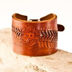 Buckle Wristband Tooled Leather Cuff Jewelry by rainwheel, $55.00