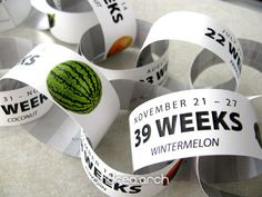 Count down each exciting week of your pregnancy with these custom paper chains! Each link counts down a new week indicating which week youre on, the Pregnancy Countdown, Pregnancy Tips, Baby Countdown, Countdown Calendar, Gifts For Expecting Parents, Bun In The Oven, Paper Chains, Everything Baby, Baby Time