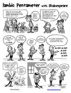 A lesson on iambic pentameter with William Shakespeare! I think you need this comic for your class (Hey! That was iambic pentameter!)