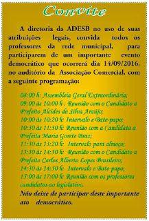 NONATO NOTÍCIAS: CONVITE:  ADESB REÚNE PROFESSORES NESTA QUARTA- FE...