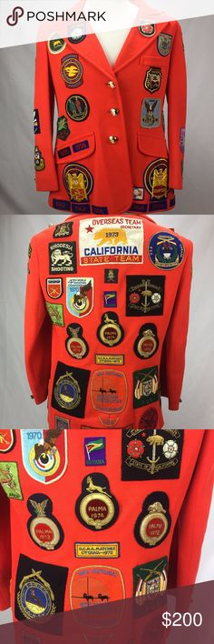 Vintage Hunting Jacket with 50+ Patches and Pins There really aren't enough characters to describe how majestic this jacket.  It appears to be an African safari and competitive hunting jacket with over 50 patches and few pins.  Patches range from 1955-1973. Across the back is a large California bear flag patch dated 1973.  There are patches from South Africa and Rhodesia which is no longer a country. Also, a ton competition and NRA patches. Every patch is sewed on.  It is working shape but…