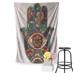 "HOT PRICES FROM ALI - Buy ""Hamsa Hand Tapestry Indian Mandala Floral Wall Hanging Tapestry for Home Psychedelic Bedspread Yoga background decoration"" from category ""Home & Garden"" for only USD. Bohemian Tapestry, Mandala Tapestry, Bohemian Decor, Tapestry Floral, Indian Tapestry, Tapestry Fabric, Bohemian Beach, Hippie Bohemian, Boho"