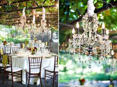 I always love the look of bringing chandeliers outdoors. Whimsical and magical.