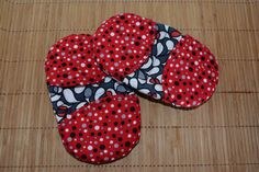 Retro Red Mini Oven Mitts Set of 2 Fingertip Oven by Hot4Handmade