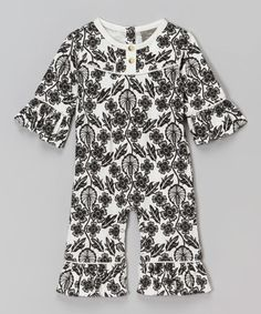 This Black & White Floral Ruffle Organic Playsuit - Infant is perfect! #zulilyfinds