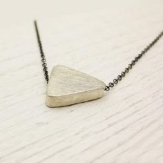 Geometric Triangle Simple Pendant Necklace In Hand Oxidized & Bright Brushed Sterling Silver / Geometry And Tribal Inspired / Modern Grey