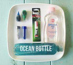 How To Create DIY Sensory Bottle Toddler Toys (Ocean Bottle: make waves!) I'd find a glue that is nontoxic. Calming Bottle, Calming Jar, Infant Activities, Activities For Kids, Crafts For Kids, Sensory Activities, Disney Babys, Baby Disney, Toddler Fun
