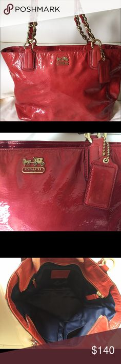 "Coach Madison Patent Leather Tote Pre-owned ( used only a few times), in an excellent condition. No wear/tear on the outside leather. A very subtle mark on lining but it's barely noticeable.  It's almost as good as brand new.  Comes with a dust bag. 9.5"" Drop Straps Measures : 14.5"" (L) x 9.75"" (H) x 5"" (D) One zippocket & 2 slip pockets Coach Bags Totes"