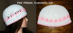 Crochet Breast Cancer Awareness Hat With Video ~ free pattern ᛡ