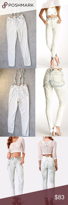 NWT ASOS Dittos Suspender High-rise Skinny Jean New with tag Dittos  Today's jean trends are crushing hard on hip nineties style, so grab the Dittos Santana Acid Washed High-Rise Suspender Jeans and join the crew  - Zip fly with button closure - Front coin pocket - 5 pocket construction - High rise - Skinny leg - Removable suspender straps 98% cotton, 2% spandex Machine wash Fit: this style fits true to size. Size 26 Dittos Jeans Skinny
