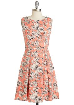 Garden Party Panache in Melon. Throw a fete amongst the flowers and match their blooming brilliance in this melon-orange dress - available in April! #coral #modcloth