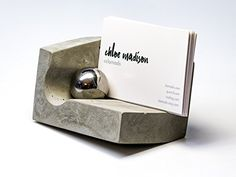 Amazon.com : Concrete Business Card Holder for Desk with Magnet and Steel Ball - Design by @clomads : Office Products