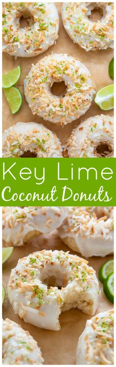 Fluffy and flavorful Key Lime Coconut Donuts are baked not fried and ready in less than 30 minutes! Fluffy and flavorful Key Lime Coconut Donuts are baked not fried and ready in less than 30 minutes! Lime Recipes, Donut Recipes, Brunch Recipes, Sweet Recipes, Breakfast Recipes, Dessert Recipes, Cooking Recipes, Dessert Ideas, Easy Recipes